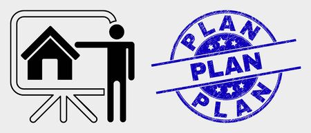 Vector realtor public report icon and Plan stamp. Red round distress seal stamp with Plan caption. Vector combination in flat style. Black isolated public report icon.
