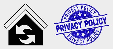 Vector refresh house icon and Privacy Policy stamp. Red rounded distress stamp with Privacy Policy caption. Vector composition in flat style. Black isolated refresh house icon.