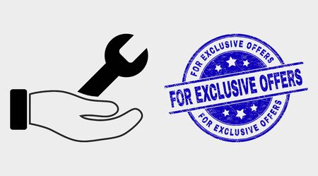 Vector repair hand pictogram and For Exclusive Offers seal stamp. Red rounded grunge seal stamp with For Exclusive Offers caption. Vector composition in flat style.