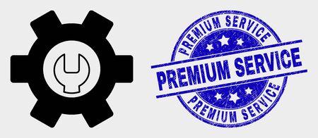 Vector repair options pictogram and Premium Service watermark. Red round distress watermark with Premium Service caption. Vector composition in flat style. Black isolated repair options pictogram.