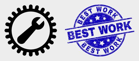 Vector repair wrench icon and Best Work seal. Red round distress seal stamp with Best Work text. Vector composition in flat style. Black isolated repair wrench icon.