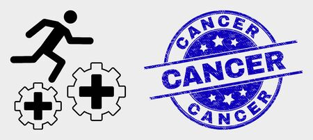 Vector running patient on gears pictogram and Cancer seal. Red rounded distress seal stamp with Cancer caption. Vector composition in flat style. Black isolated running patient on gears pictogram.