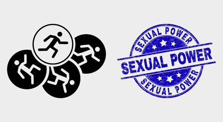 Vector running persons pictogram and Sexual Power stamp. Red round distress stamp with Sexual Power text. Vector composition in flat style. Black isolated running persons icon.