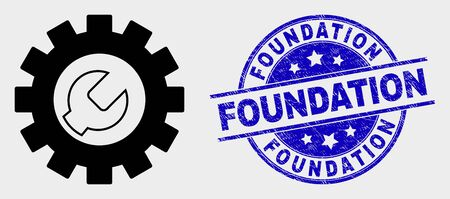 Vector setup tools icon and Foundation stamp. Red round scratched stamp with Foundation text. Vector combination in flat style. Black isolated setup tools icon. Stock Illustratie