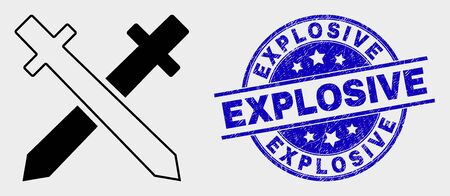 Vector swords icon and Explosive seal stamp. Red rounded scratched seal stamp with Explosive text. Vector composition in flat style. Black isolated swords pictogram.