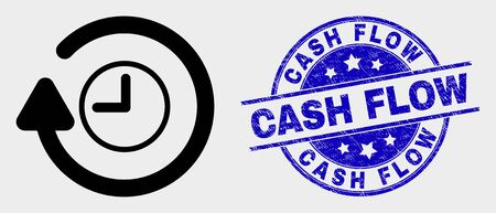 Vector rotate clockwise icon and Cash Flow watermark. Red rounded scratched watermark with Cash Flow text. Vector composition in flat style. Black isolated rotate clockwise icon. Illustration