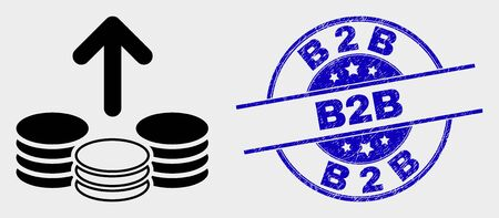 Vector spend coins icon and B2B seal stamp. Red rounded scratched seal stamp with B2B caption. Vector composition in flat style. Black isolated spend coins symbol.