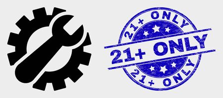 Vector gear tools pictogram and 21  Only seal stamp. Red rounded scratched stamp with 21  Only text. Vector combination in flat style. Black isolated gear tools pictogram. Archivio Fotografico - 129669144