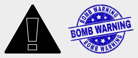 Vector warning pictogram and Bomb Warning stamp. Red round grunge seal stamp with Bomb Warning text. Vector composition in flat style. Black isolated warning pictogram.