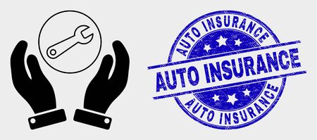Vector wrench repair hands icon and Auto Insurance seal stamp. Red rounded grunge seal stamp with Auto Insurance text. Vector composition in flat style. Black isolated wrench repair hands icon.