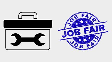 Vector wrench toolbox pictogram and Job Fair seal stamp. Red rounded grunge seal stamp with Job Fair caption. Vector combination in flat style. Black isolated wrench toolbox icon. Stock Illustratie