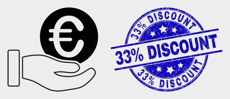 Vector euro coin donation hand icon and 33% Discount seal. Red rounded textured seal stamp with 33% Discount caption. Vector composition in flat style. Black isolated euro coin donation hand icon.