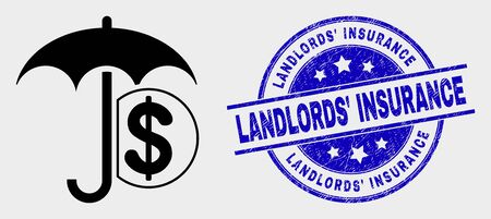 Vector financial umbrella pictogram and Landlords Insurance seal stamp. Red rounded scratched seal stamp with Landlords Insurance text. Vector composition in flat style. Ilustrace