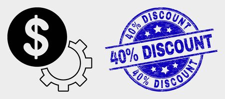 Vector financial options gear pictogram and 40% Discount seal stamp. Red round grunge seal stamp with 40% Discount text. Vector composition in flat style. Black isolated financial options gear icon.