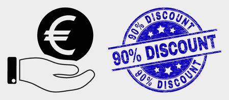 Vector hand offer euro coin pictogram and 90% Discount seal stamp. Red round distress seal stamp with 90% Discount caption. Vector composition in flat style.