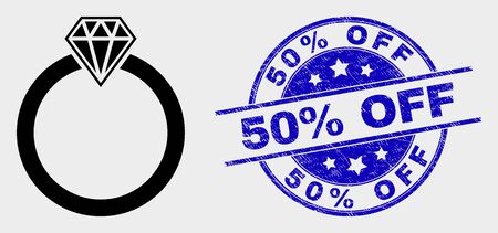 Vector jewelry ring pictogram and 50% Off seal. Red round textured seal with 50% Off text. Vector combination in flat style. Black isolated jewelry ring icon. Stock Illustratie