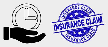 Vector time service hand pictogram and Insurance Claim seal. Red round textured seal stamp with Insurance Claim text. Vector combination in flat style. Black isolated time service hand pictogram.
