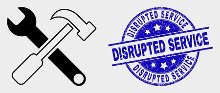 Vector tools pictogram and Disrupted Service seal stamp. Red round distress seal stamp with Disrupted Service caption. Vector combination in flat style. Black isolated tools icon.