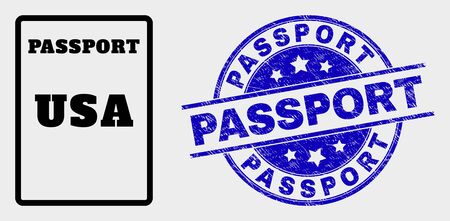 Vector USA passport pictogram and Passport stamp. Red round scratched seal stamp with Passport text. Vector combination in flat style. Black isolated USA passport pictogram.  イラスト・ベクター素材