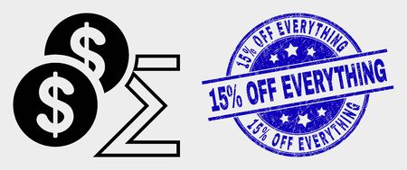 Vector dollar sum pictogram and 15% Off Everything stamp. Red round distress seal stamp with 15% Off Everything text. Vector composition in flat style. Black isolated dollar sum pictogram.