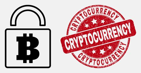Vector stroke bitcoin lock icon and Cryptocurrency stamp. Blue round textured stamp with Cryptocurrency title. Black isolated bitcoin lock icon in stroke style.