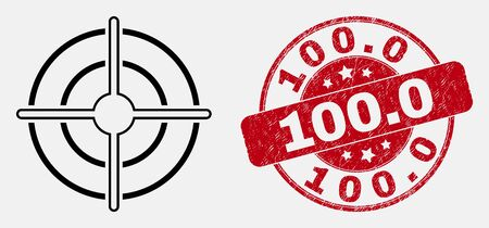 Vector contour bullseye pictogram and 100.0 stamp. Blue round textured seal stamp with 100.0 title. Black isolated bullseye icon in contour style.