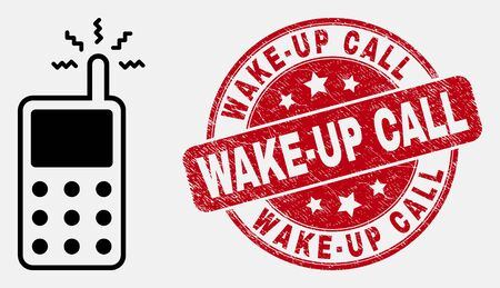 Vector contour cell phone icon and Wake-Up Call watermark. Blue rounded textured watermark with Wake-Up Call title. Black isolated cell phone pictogram in contour style.