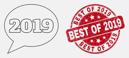 Vector linear 2019 message balloon icon and Best of 2019 seal stamp. Blue round textured stamp with Best of 2019 caption. Black isolated 2019 message balloon symbol in linear style.