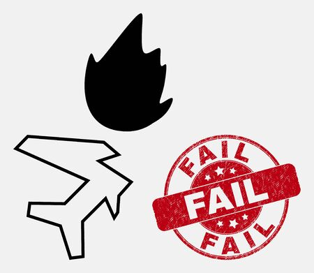 Vector contour airplane crash icon and Fail seal stamp. Blue rounded textured seal stamp with Fail message. Black isolated airplane crash pictogram in line style. 일러스트