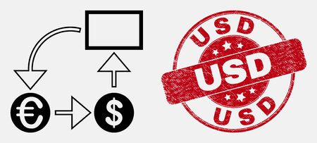 Vector line currency conversion scheme pictogram and USD seal stamp. Blue rounded distress stamp with USD text. Black isolated currency conversion scheme pictogram in line style.