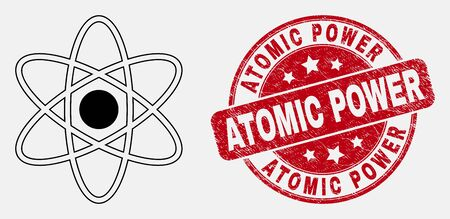 Vector line atom icon and Atomic Power seal stamp. Blue rounded grunge seal with Atomic Power message. Black isolated atom icon in stroke style.