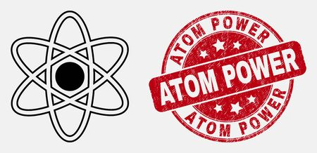 Vector contour atom model icon and Atom Power seal stamp. Blue round scratched seal stamp with Atom Power caption. Black isolated atom model icon in contour style.