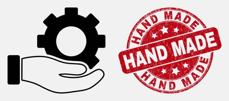Vector outline gear service hand pictogram and Hand Made watermark. Blue round scratched stamp with Hand Made message. Black isolated gear service hand pictogram in outline style. Stock Illustratie