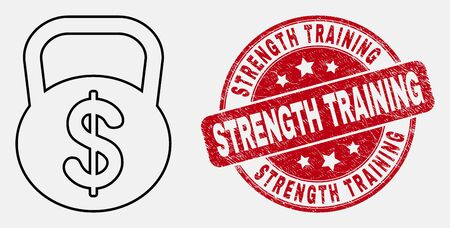Vector stroke dollar weight icon and Strength Training stamp. Blue round scratched seal stamp with Strength Training title. Black isolated dollar weight icon in stroke style. Illustration