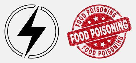 Vector outline electricity icon and Food Poisoning seal stamp. Blue rounded grunge stamp with Food Poisoning caption. Black isolated electricity icon in contour style. Vectores