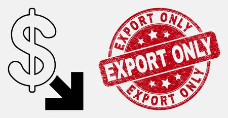 Vector linear export dollar pictogram and Export Only seal stamp. Blue rounded distress seal stamp with Export Only message. Black isolated export dollar icon in contour style.