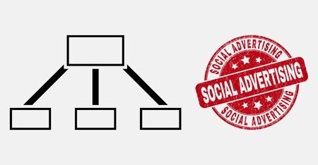 Vector line hierarchy links icon and Social Advertising seal stamp. Blue round scratched stamp with Social Advertising caption. Black isolated hierarchy links icon in contour style.