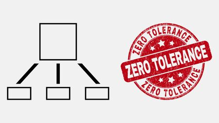 Vector outline hierarchy icon and Zero Tolerance seal stamp. Blue round grunge stamp with Zero Tolerance phrase. Black isolated hierarchy icon in outline style.