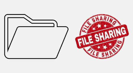 Vector contour folder pictogram and File Sharing seal stamp. Blue round distress seal stamp with File Sharing caption. Black isolated folder symbol in line style.