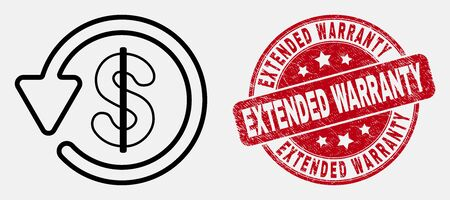 Vector line dollar refund pictogram and Extended Warranty seal. Blue round grunge seal stamp with Extended Warranty phrase. Black isolated dollar refund pictogram in outline style. Illustration