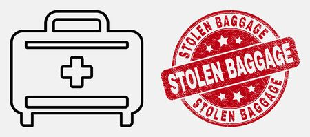 Vector stroke medical baggage icon and Stolen Baggage seal. Blue rounded scratched seal with Stolen Baggage text. Black isolated medical baggage icon in linear style. Illustration