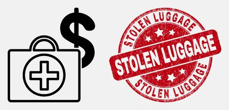 Vector outline Financial medical case icon and Stolen Luggage seal. Blue rounded distress seal with Stolen Luggage phrase. Black isolated Financial medical case icon in stroke style.  イラスト・ベクター素材