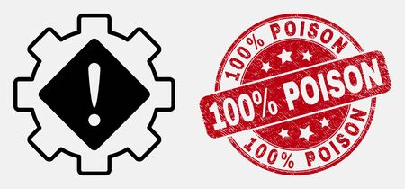 Vector line gear warning icon and 100% Poison seal stamp. Blue rounded scratched seal stamp with 100% Poison title. Black isolated gear warning icon in contour style.