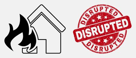 Vector stroke house fire disaster icon and Disrupted seal stamp. Blue round grunge seal stamp with Disrupted message. Black isolated house fire disaster icon in linear style.