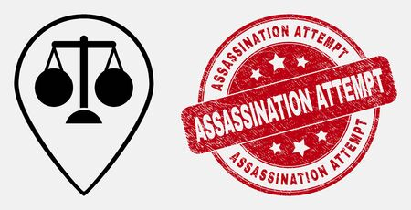 Vector linear justice map marker pictogram and Assassination Attempt seal stamp. Blue round textured seal with Assassination Attempt text. Black isolated justice map marker pictogram in linear style.