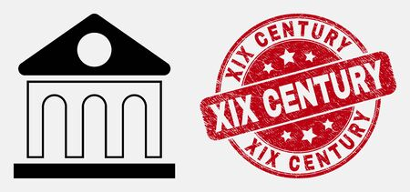 Vector linear library building pictogram and XIX Century seal stamp. Blue round grunge seal stamp with XIX Century title. Black isolated library building pictogram in linear style.