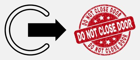 Vector outline logout pictogram and Do Not Close Door seal stamp. Blue rounded distress seal stamp with Do Not Close Door caption. Black isolated logout icon in outline style. Çizim
