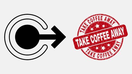 Vector line logout icon and Take Coffee Away seal. Blue rounded grunge seal stamp with Take Coffee Away message. Black isolated logout symbol in line style.