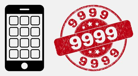Vector contour mobile phone icon and 9999 seal stamp. Blue round grunge seal stamp with 9999 text. Black isolated mobile phone icon in line style.