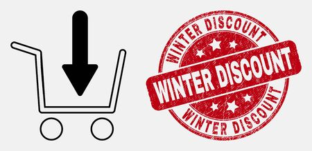 Vector linear put shopping item icon and Winter Discount seal stamp. Blue rounded textured seal stamp with Winter Discount caption. Black isolated put shopping item icon in linear style.